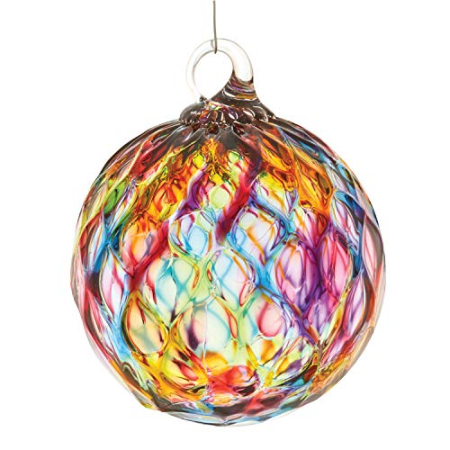 Glass Eye Studio Rainbow Glass Ornament, Orb Sphere Hanging Tree Ornament Sun Catcher, Hand-Blown Glass, 3″