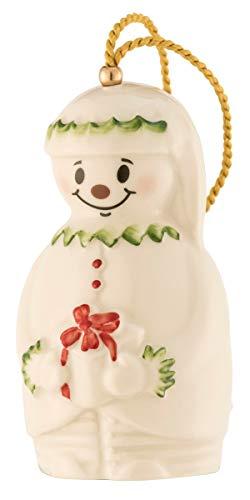 Belleek 4427 Snowman Bell Ornament, Elf, New for 2018