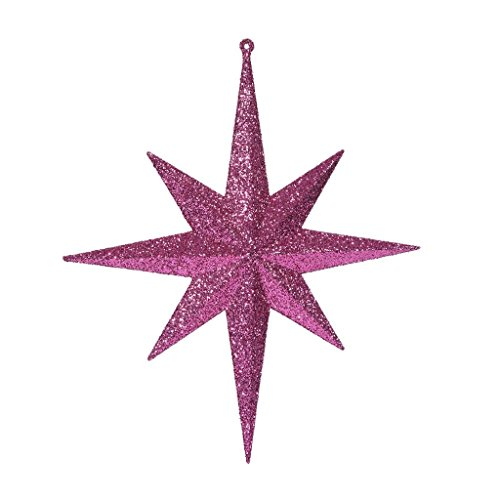 Vickerman 417904-12 Cerise Glitter Bethlehem Star Christmas Tree Ornament (2 pack) (M167409)