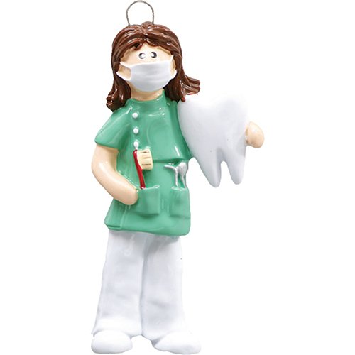Personalized Dentist Christmas Tree Ornament 2019 – Brown Hair Woman Medical Health Care Dental Surgeon Uniform Hospital Coworker New Job Brunette Doctor Oral Profession Year – Free Customization