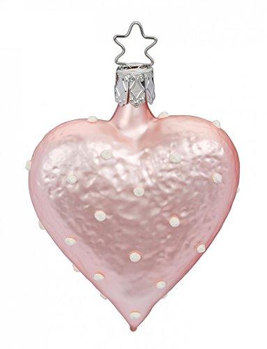 Inge-Glas Heart Pink Sweet Heart 1-291-17 German Blown Glass Christmas Ornament