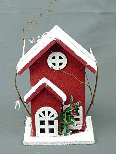 Christmas Snowy LED-Lit Hand-Painted Houses, Barn, and Church Buyers Choice! (Painted Red, 10.75″ H x 6.75″ W x 3.5″ D)