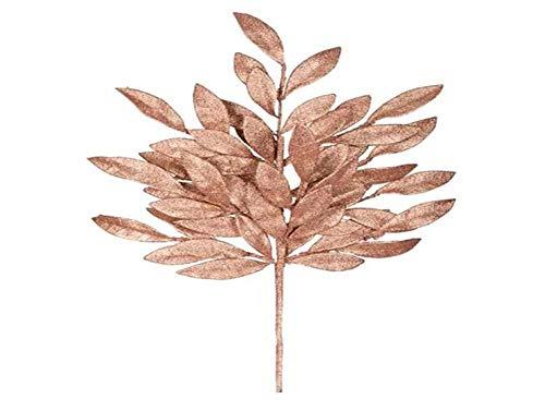 Vickerman L148258 Glitter Bay Leaf Spray 6 to a Bag, 22″, Rose Gold