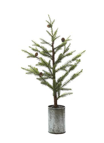 Creative Co-op Small Pine Tree in Grey Metal Pot Artificial Plants, Green