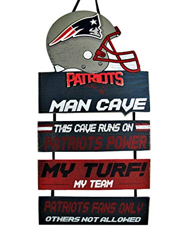 Forever Collectibles NFL New England Patriots Wood SignMan Cave Design, Team Colors, One Size