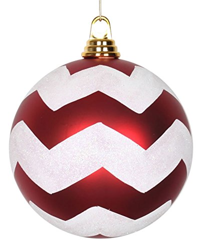 Vickerman Red Matte with White Glitter Chevron Commercial Size Christmas Ball Ornaments 6″ (150mm)