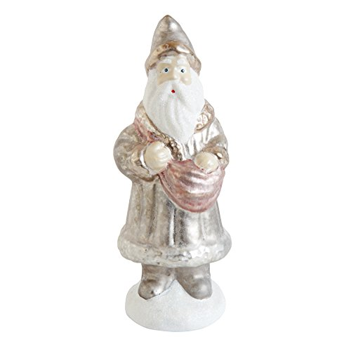 Gold Colored 6″H Glass Hand-Painted Santa Christmas Ornament