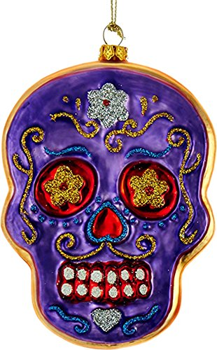 Noble Gems Day of The Dead Skull Ornament 5 inch Purple
