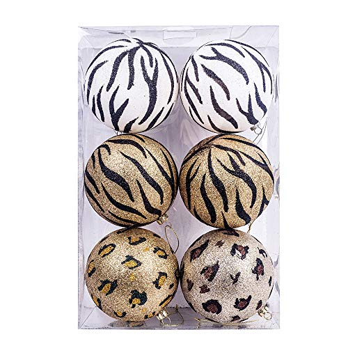 Kurt Adler Kurt S. Adler 100MM Glitter Animal Print Ball, Box of 6 Ornament, Multi