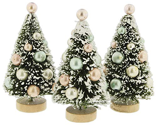 Bethany Lowe Mini Bottle Brush Trees with Pastel Ornaments, Set of 3