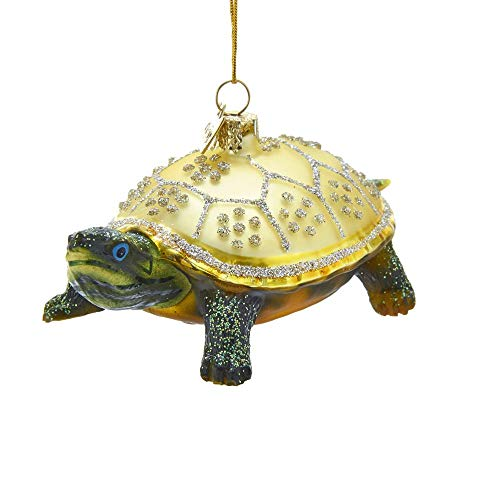 Kurt Adler Noble Gems Land Turtle Glass Hanging Ornament, 4 inches Height
