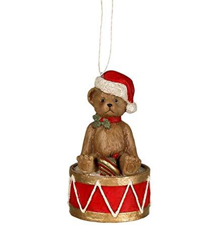 Bethany Lowe Teddy Bear on Drum Christmas Tree Ornament