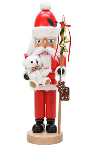 Alexander Taron 32-553 Christian Ulbricht Nutcracker-Santa with White Teddy bear-16.5″ H x 5″ W x 6″ D, Brown