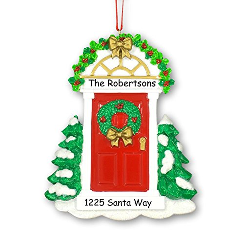 Personalized Christmas Holiday New Home Our First Home with Red Door Holly Wreath Decoration Hanging Christmas Ornament with Custom Names and Address