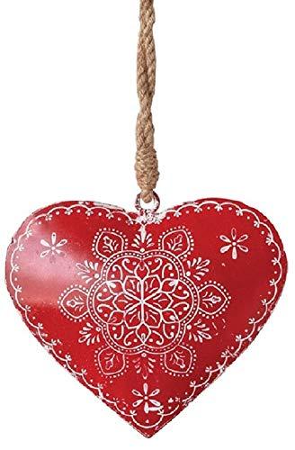 Creative Co-op Winter Snowflake Heart Metal Hanging Ornament