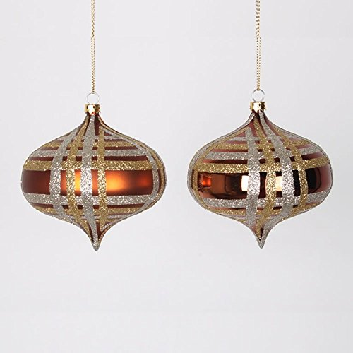 4ct Copper w/ Champagne Gold & Silver Glitter Plaid Shatterproof Christmas Onion Ornaments 4″ (100mm)