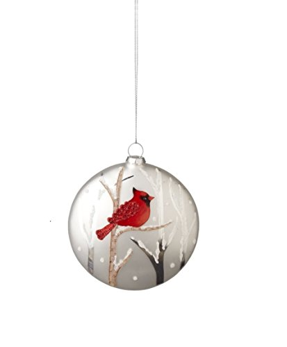Midwest-CBK Cardinal Disc Glass Holiday Ornament
