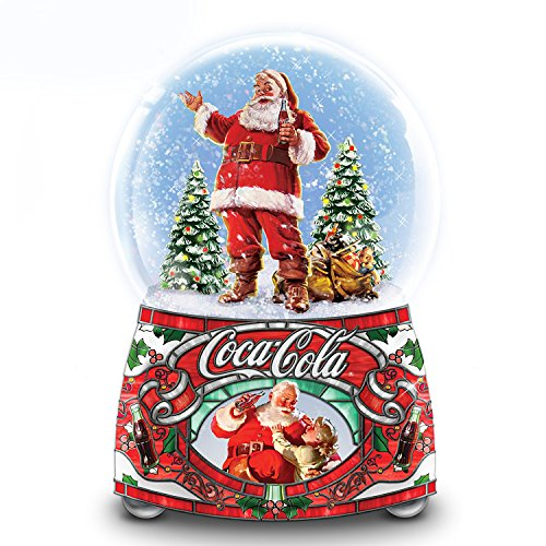 The Bradford Exchange COCA COLA Santa Musical Glitter Globe Lights Up and Plays Jingle Bells