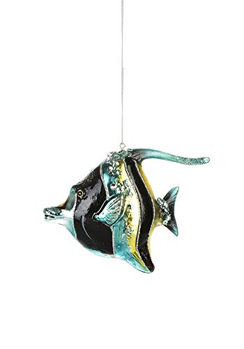 Midwest Glass Striped Blue Fish Ornament