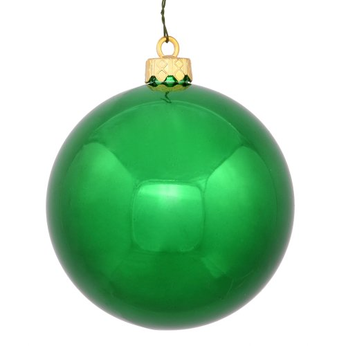 Vickerman Shiny Finish Seamless Shatterproof Christmas Ball Ornament, UV Resistant with Drilled Cap, 4 per Bag, 4.75″, Green
