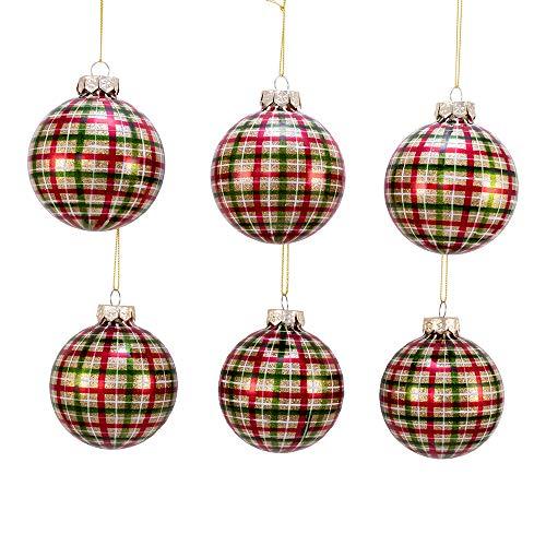 Kurt Adler Kurt S. Adler 80MM Red and Green Plaid Glass Ball, 6 Piece Box Ornament, Gold, White