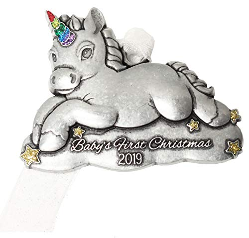 Gloria Duchin 2019 Baby's First Christmas Pewter Christmas Tree Ornaments. Various Styles, Unicorn, Bear, Giraffe (Unicorn)