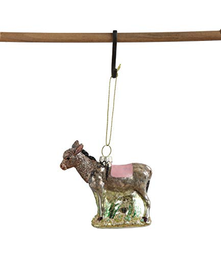 Creative Co-Op Glass Donkey Ornament, Brown