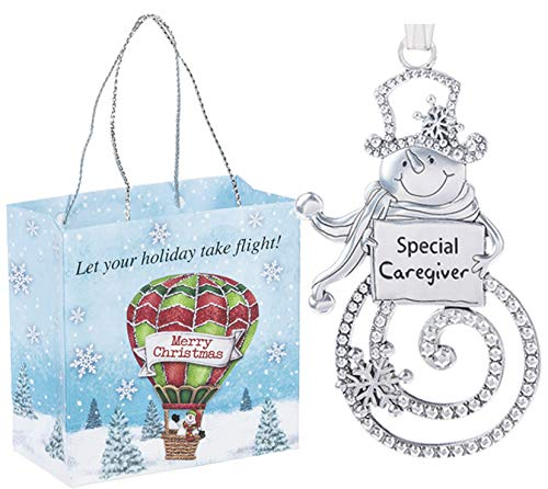 Ganz U.S.A., LLC Special Caregiver Swirls of Christmas Snowman Ornaments 2 Sided for Holiday Christmas Tree Decor Care Giver Gifts from Kids 2019 Presented in a Holiday Bag with a Snowman