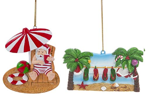 Beachcombers Resin Summer Themed Christmas Ornament Bundle, Santa on Beach and Palm Tree Clothesline