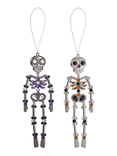 Ganz Red Purple Halloween Silvertone Skeleton 5 inch Acrylic Decorative Ornament, Set of 2