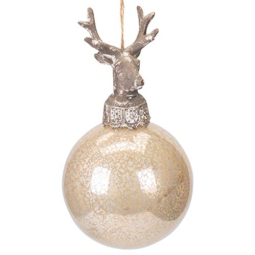 Midwest-CBK Deer On Ball Silver Toned 5 x 3 Glass and Resin Stone Christmas Ornament