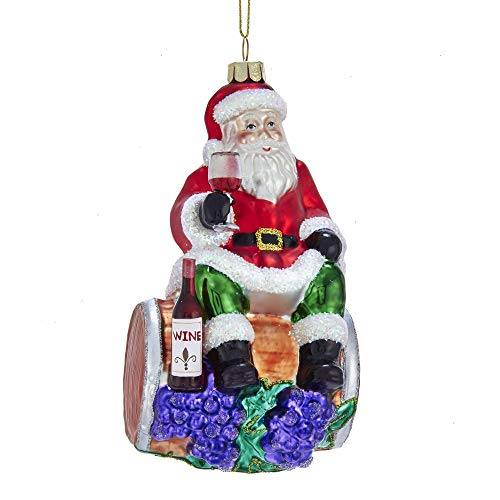 Kurt-Adler Glass Ornament with S-Hook and Gift Box, Santa Collection (Santa on Wine Barrel, NB1435)