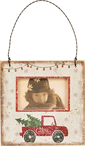 Primitives by Kathy 4.50 Inches Square Fits 3 Inches x 2 Inches Photo Magnet Paper Mini Frame – Christmas Truck Hanging Ornament