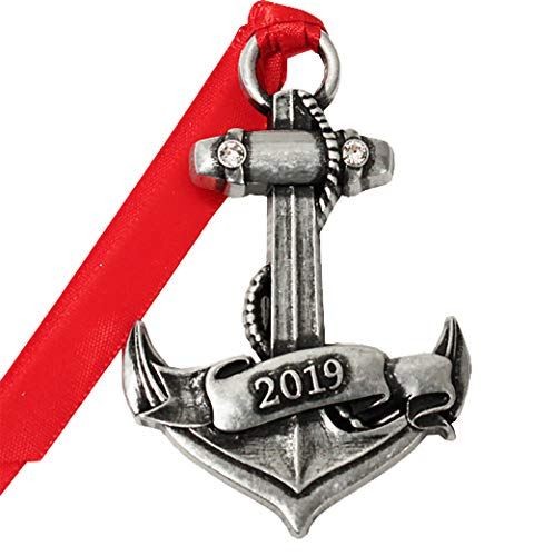 2019 Military Pewter Christmas Tree Ornaments. Various Styles for Army, Navy, Marines and Air Force (Anchor)