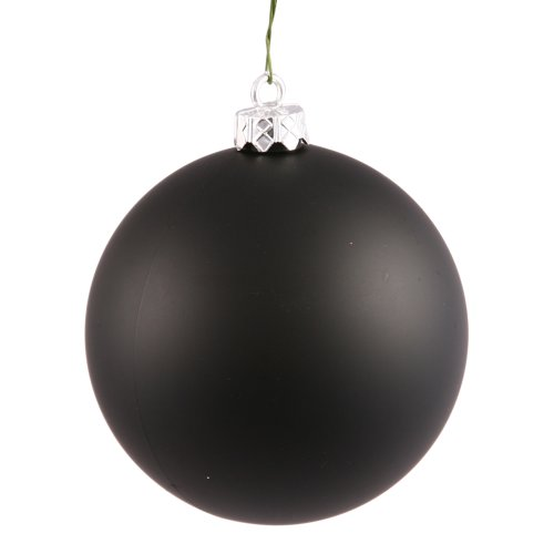 Vickerman Matte Finish Seamless Shatterproof Christmas Ball Ornament, UV Resistant with Drilled Cap, 4 per Bag, 4.75″, Black