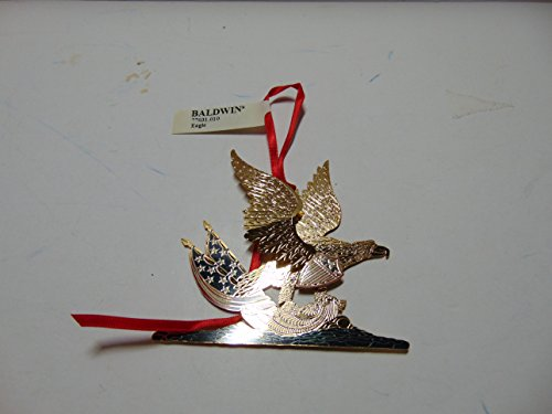 Christmas Ornament Baldwin Eagle, Brass with 24k Gold Overlay