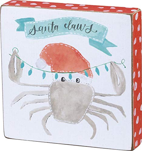 Primitives by Kathy Beach Holiday Wooden Block Sign, Santa Claws
