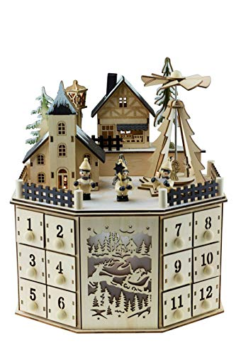Clever Creations Traditional LED Wooden Advent Calendar Decoration   Festive Christmas Village Design with 24 Drawers   LED Christmas Lights and Rotating Angels in Christmas Tree   Battery Operated