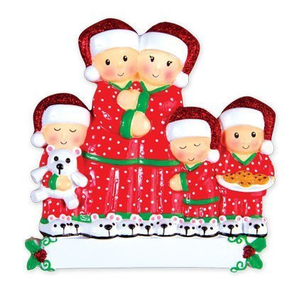 Pajama Family of 5 Personalized Christmas Tree Ornament