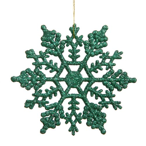 Vickerman Glitter Snowflake Christmas Ornaments with 12 per PVC Box, 8″, Green