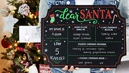 """Decorae Dear Santa Chalkboard Sign 16 x 12 Inches; Christmas Reusable """"Letter to Santa"""" Wish List for Photo Prop and Holiday Traditions"""