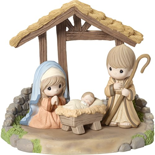 """Precious Moments"""" O Come Let Us Adore Him Holy Family Figurine with Creche (Set of 4), Multicolor"""