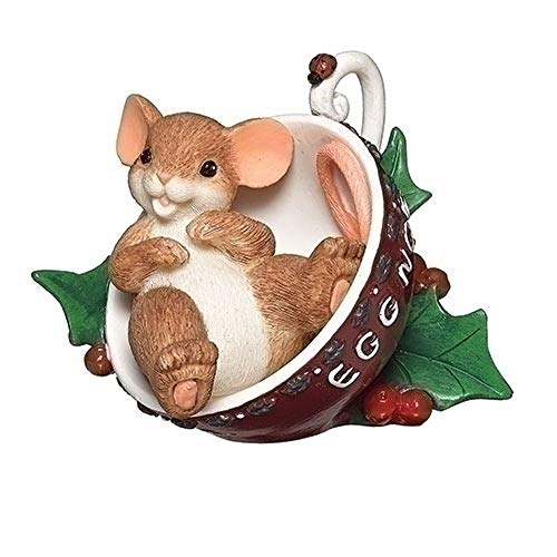 Roman 3-inch Mouse in Eggnog Cup Figurine
