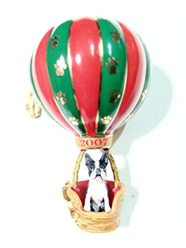 Holiday Adventure, Boston Terrier in Hot Air Balloon Ornament, Danbury Mint 2007