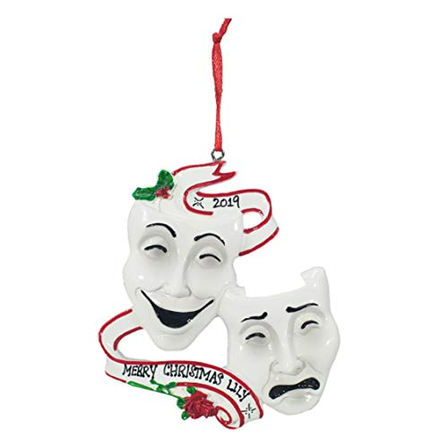 Personalized Christmas Tree Decoration Ornament 2019 – Traditional Home Décor – New Year Santa Gift – Holiday Fun w Hanging Hook – Theatre Masks – Free Customization