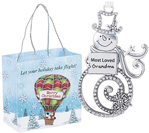 Ganz U.S.A., LLC Most Loved Grandma Swirls of Christmas Snowman Ornaments 2 Sided for Holiday Christmas Tree Decor Grandparents Gifts from Kids 2019 Presented in a Holiday Bag with a Snowman