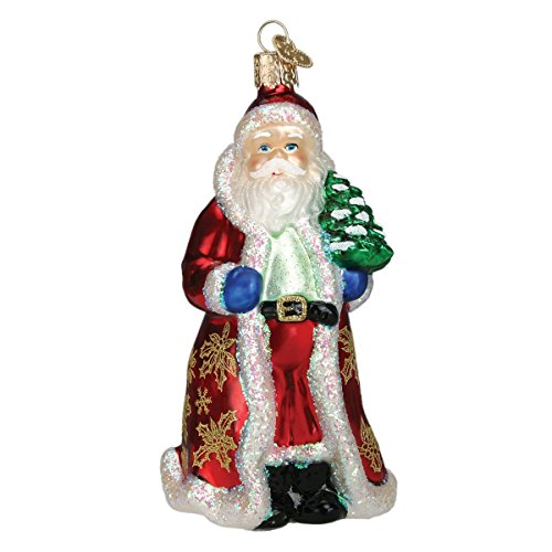 Old World Christmas Ornaments: Assortment of Santas Glass Blown Ornaments for Christmas Tree, Glistening Golden Santa