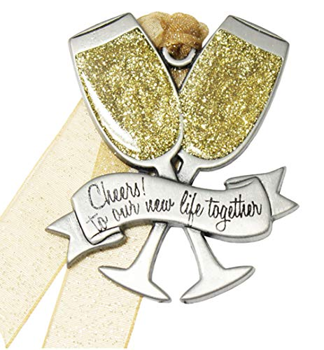 Gloria Duchin 2019 Just Married Newlywed Pewter Christmas Tree Ornaments. Various Styles Available (Champagne Glasses)