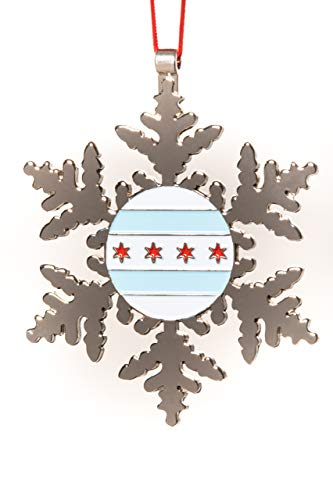 Collegiate Pulse City of Chicago Flag Snowflake Christmas Ornament