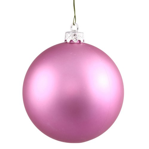 Vickerman Pink Matte Finish Seamless Shatterproof Christmas Ball Ornament, UV Resistant with Drilled Cap, 4 per Bag, 4.75″, Orchid